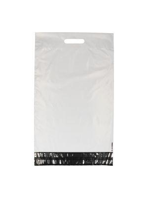Verzendzak LDPE 350 x 450 + 70 + 60 mm dubbele plakstrip met handgreep