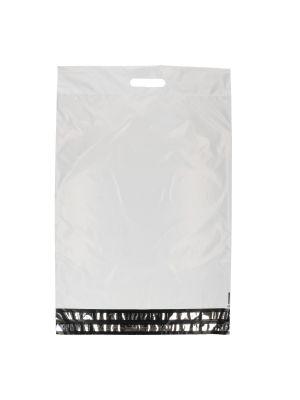 Verzendzak LDPE 450 x 550 + 70 + 60 mm dubbele plakstrip met handgreep