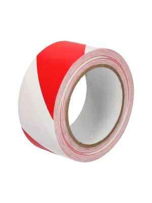 Tape pvc rood/wit 50mmx33mtr vloermarkering