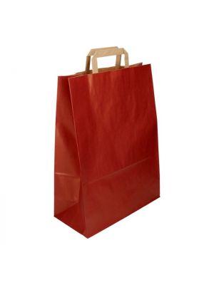 Draagtas papier rood 32 + 2  x 8,5 x 43 cm