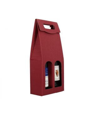 Draagkarton 2-fles 180 x 90 x 365 mm FE golf bordeaux opengolf